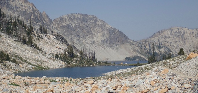 Looking back at Sawtooth Lake