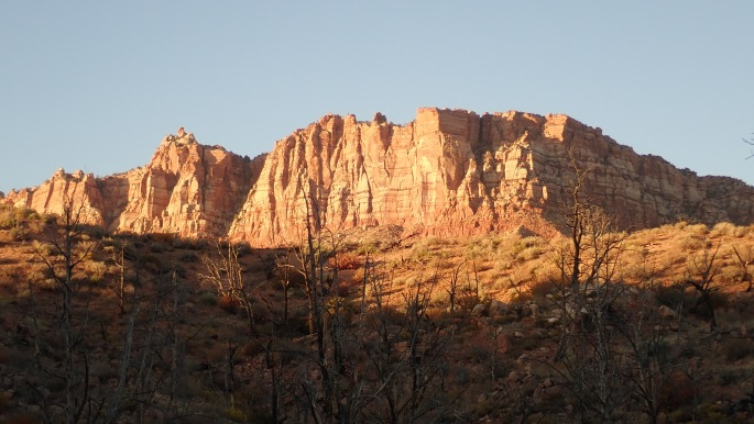 The evening light gives a golden/pinkish glow to the redrock near my campsite
