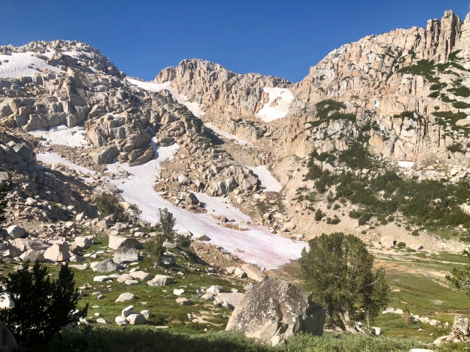 Snow is not hard to find above Mule Pass even though it's early August