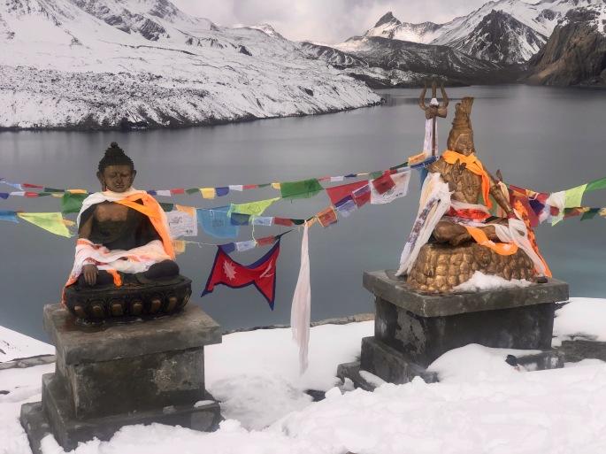 Buddha and Shiva at Tilicho Lake