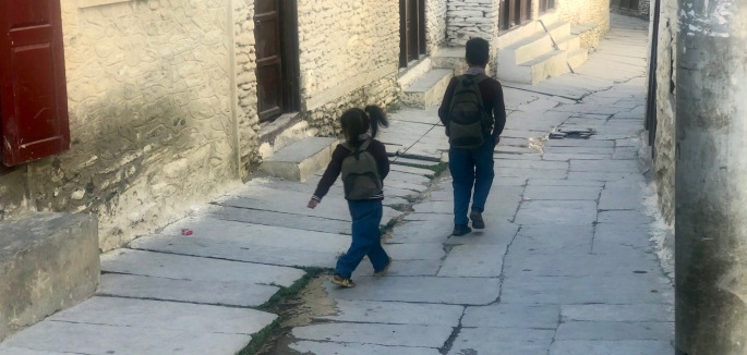 A boy leads his younger sister to school via a leash
