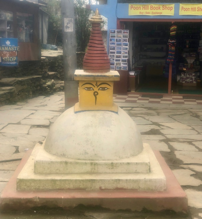 Budhha is in the center of town at Ghorepani