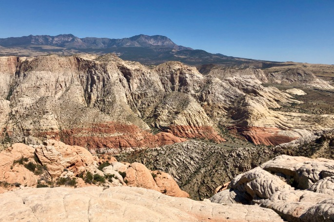 This view looks across Snow Canyon to the Pine Valley mountains