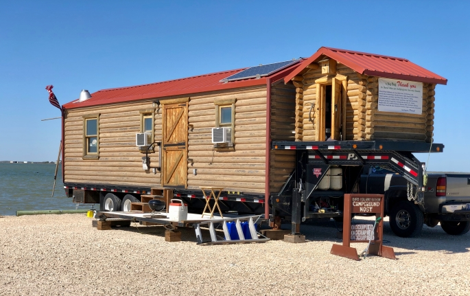 One of the more interesting mobile homes I've ever seen.  Yes, it's real wood.
