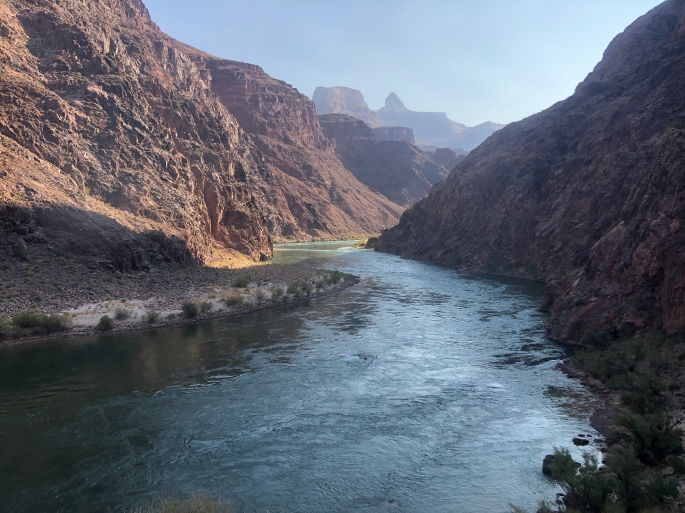 The Colorado River here flows placidly but swiftly