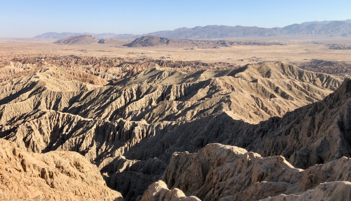 Fonts Point offers a nice view of badlands and the desert and hills beyond